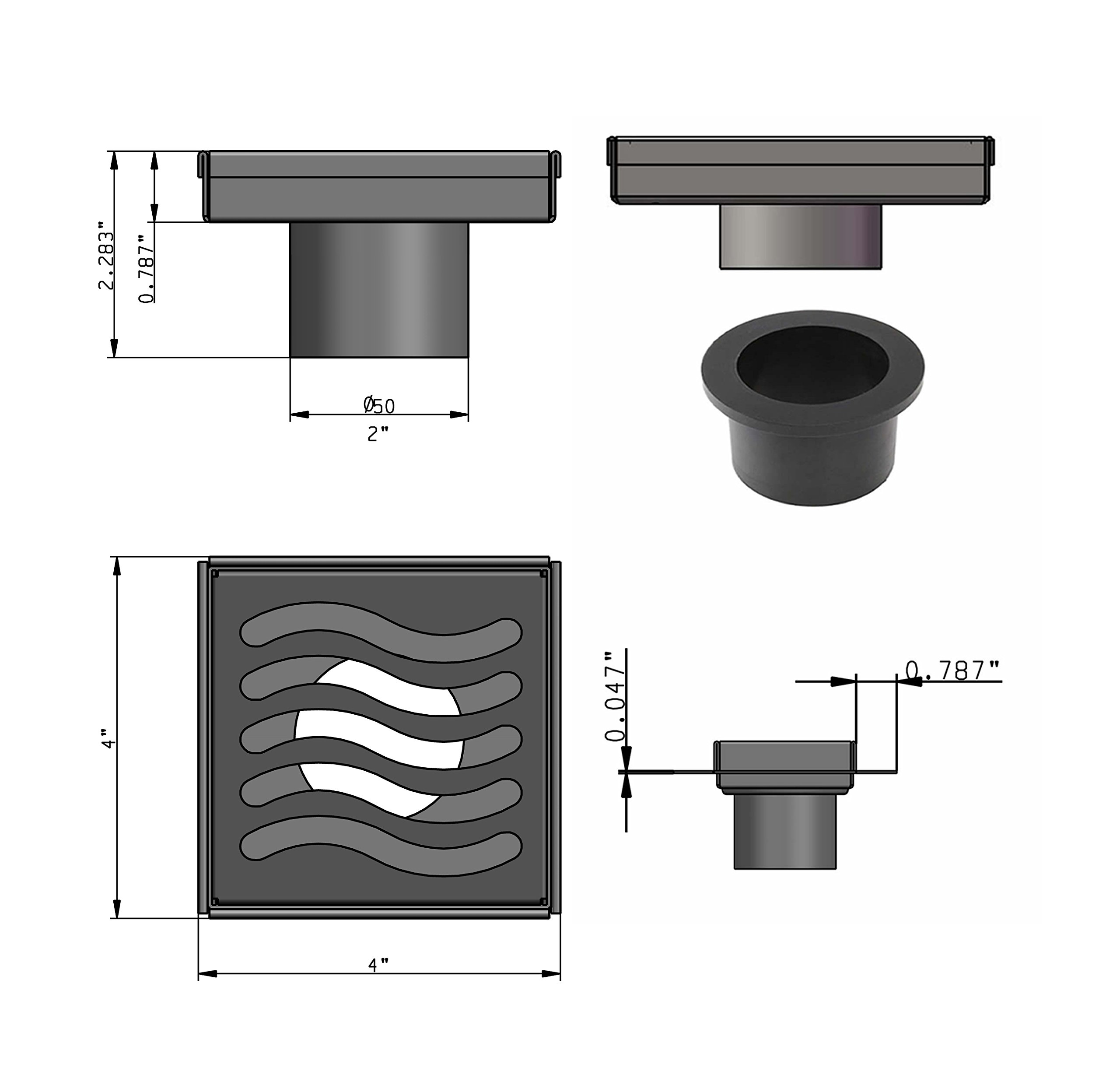 Royal Drains By Serene Steam Ocean Wave KIT with Stainless Steel Hair Trap ABS or PVC Drain and Weep Hole Protector (PVC, Oil Rubbed Bronze) by Royal Drains By Serene Steam