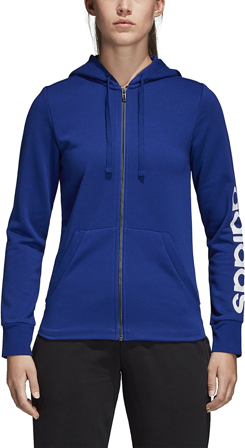 adidas Athletics Essentials Linear Full-Zip Hoodie - Sweat-Shirts à Capuche - Femme Encre Mystérieuse/Blanche.