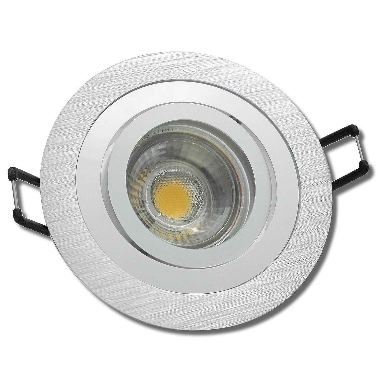 5 Stück MCOB Modul Einbauleuchte Marie 230 Volt 5 Watt Schwenkbar Silber Neutralweiß