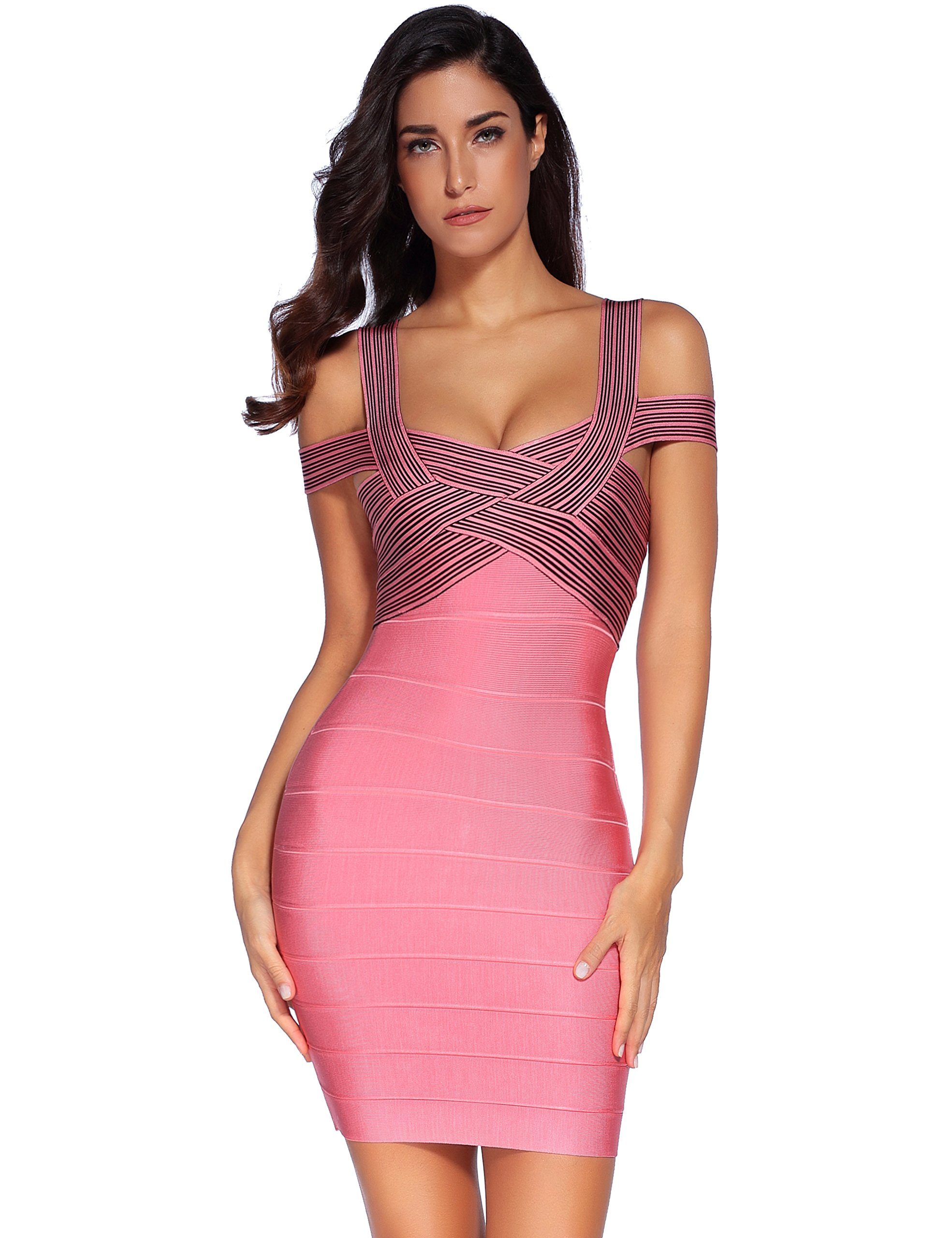 Meilun Women's Rayon Strap V-neck Off-Shoulder Fitted Bandage Bodycon Dress Pink Small