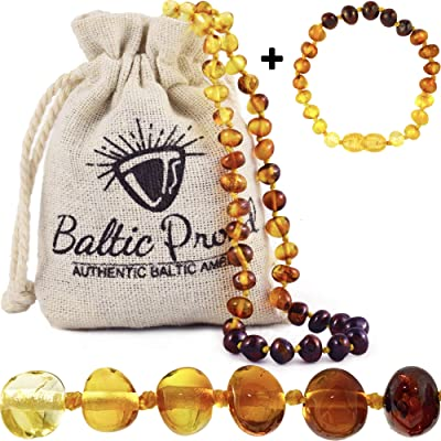 Baltic Amber Necklace and Bracelet Anklet Gift Set (Unisex Rainbow) Alternative Pain Relief – Certified Premium Quality Raw Baltic Sea Amber: Health & Personal Care