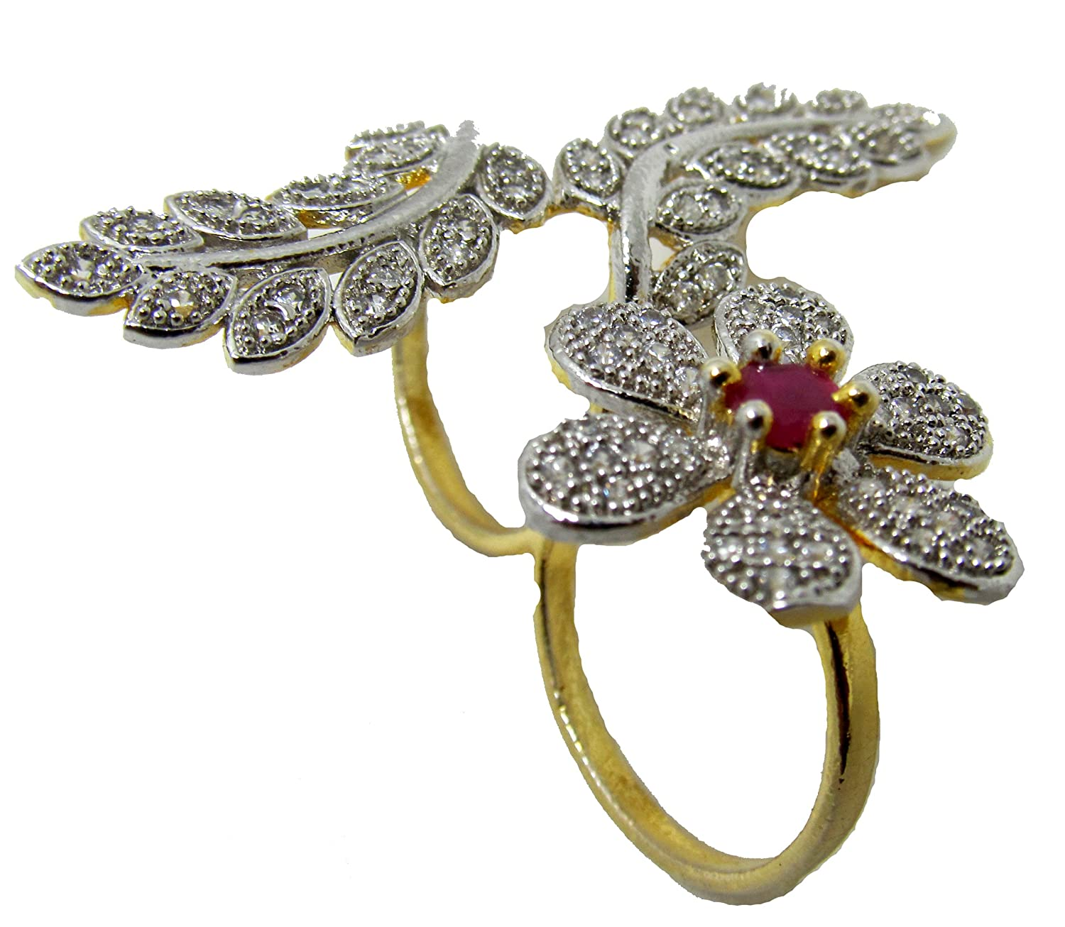 Buy Stylistico Golden American Diamond Free Size Ring For Girl ...