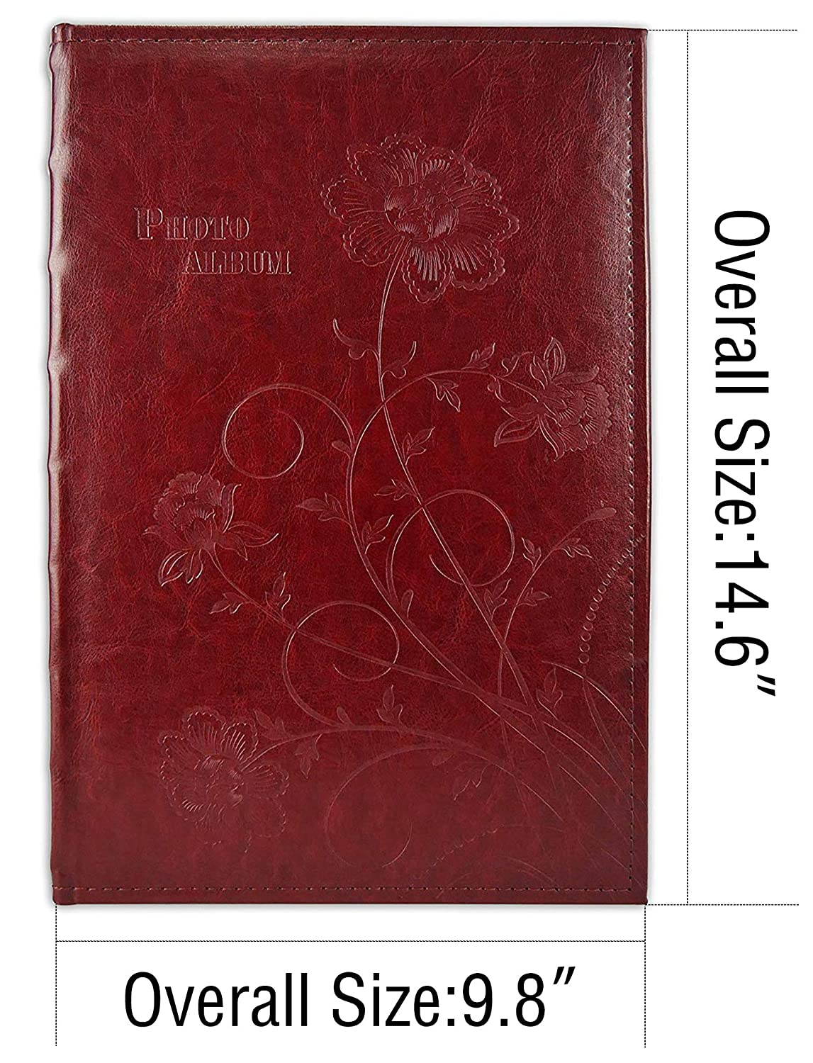 Vacation Anniversary Photography Book for 300 4x6 Pictures Pockets with Memo 3 Per Page Large Capacity Maroon Faux Leather Vintage Golden State Art Wedding Family Baby Dog Photo Album Christmas