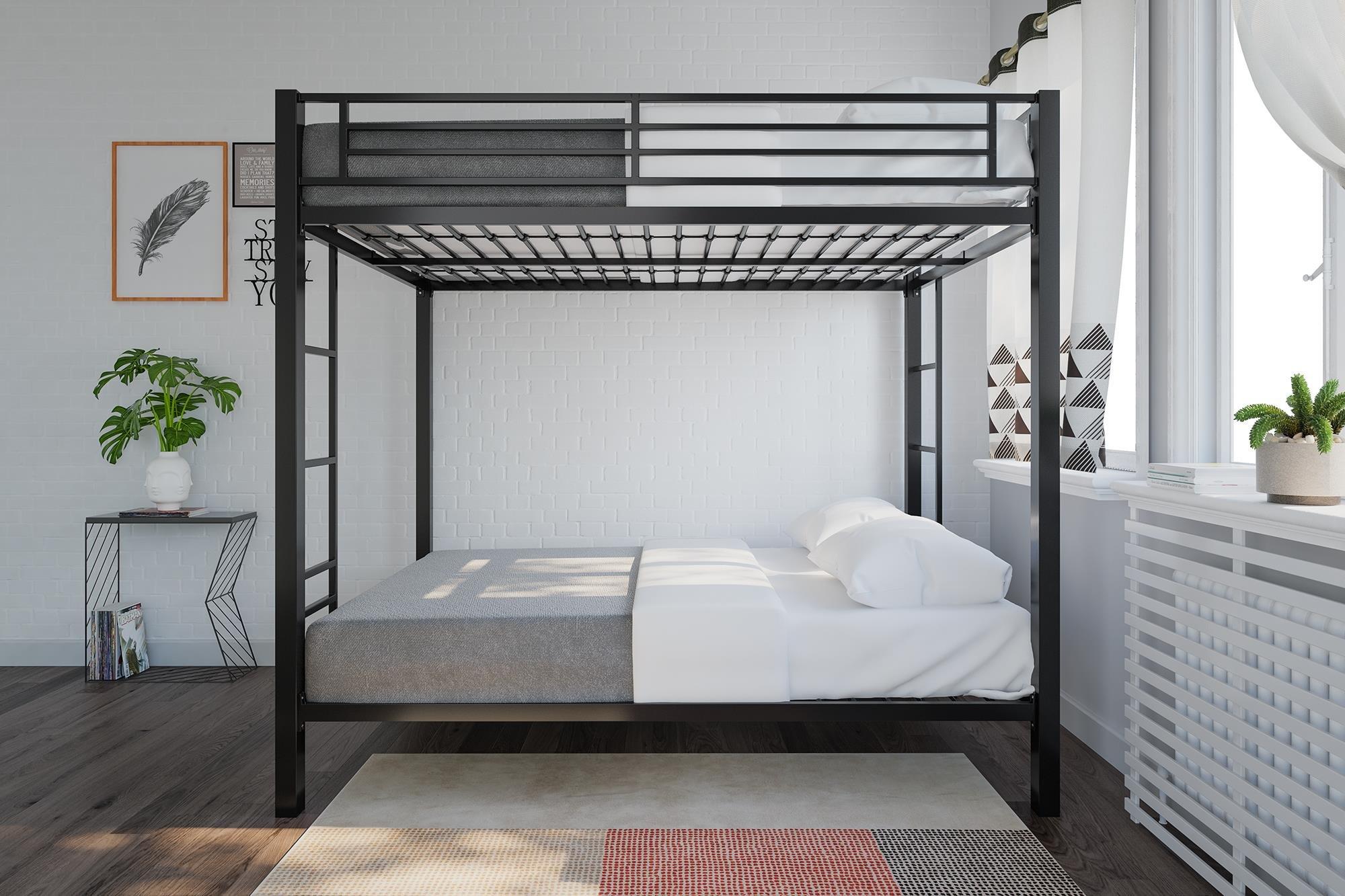 DHP 4228029SET Black Metal 6'' Signature Sleep Memoir 8'' Full Memory Foam Bunk Bed and Mattress Set Full over Full