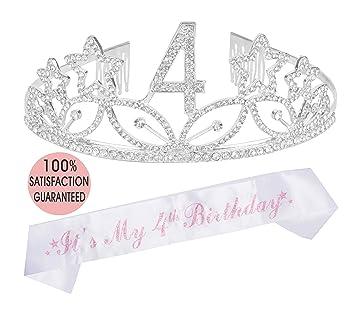 Amazon.com: Tiara de 4 cumpleaños y cinta plateada ...