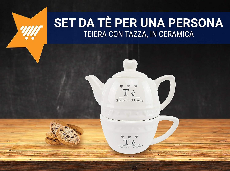 TEA FOR ONE SERVIZIO THE 1 PERSONA TEIERA PIATTO E TAZZA TE/' TISANA SHABBY CHIC