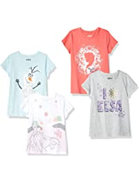 Spotted Zebra by Disney Frozen - Girls' Toddler & Kids 4-Pack Short-Sleeve T-Shirts