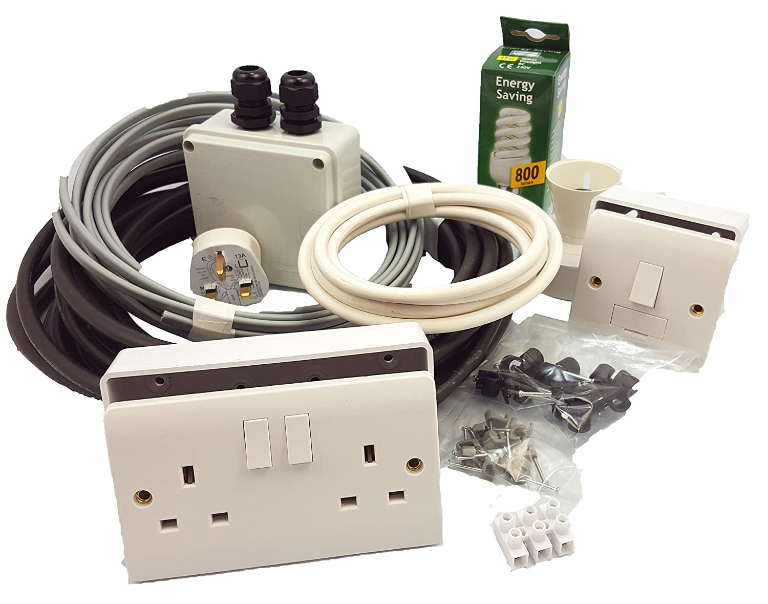 Garden Shed Complete Electrics Kit Incl Double Socket Light Point Wiring An Outdoor Plug And Underground Twin Earth Cable Kitchen Home