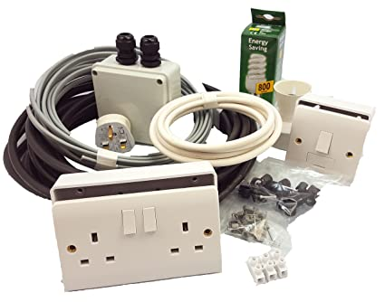garden shed complete electrics kit incl double socket light point Wiring Outside Shed