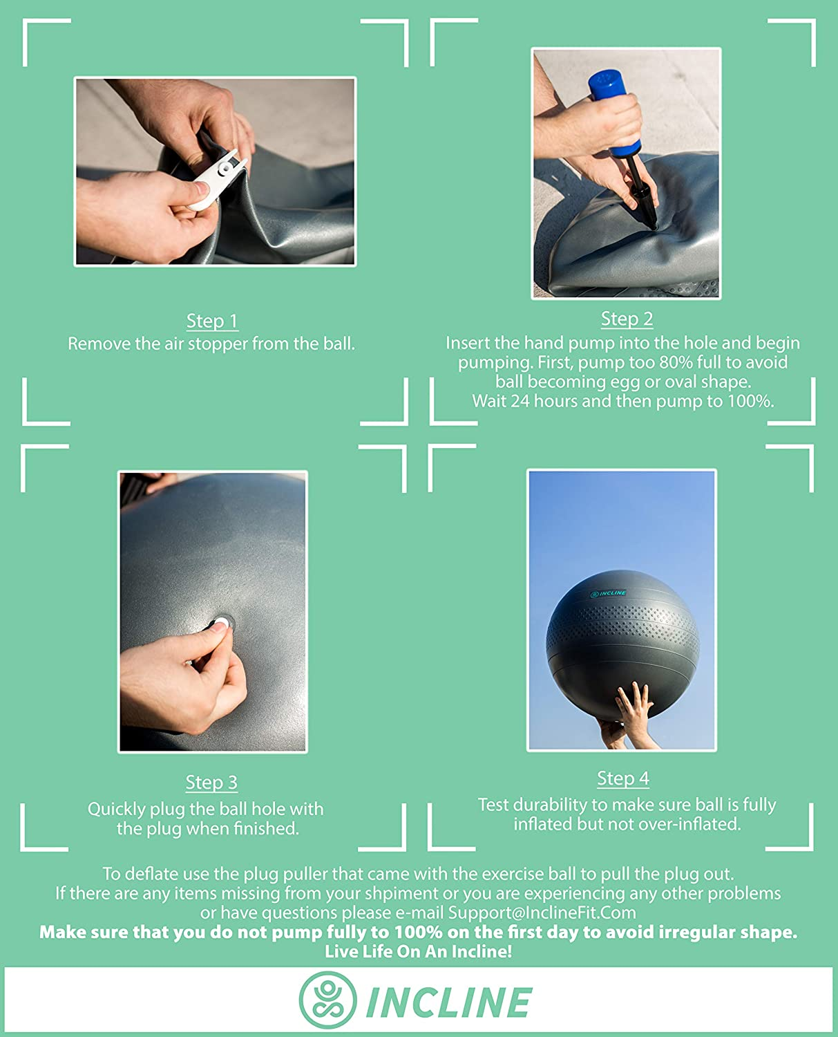 Incline Fit Anti Burst Exercise Stability Ball with Pump