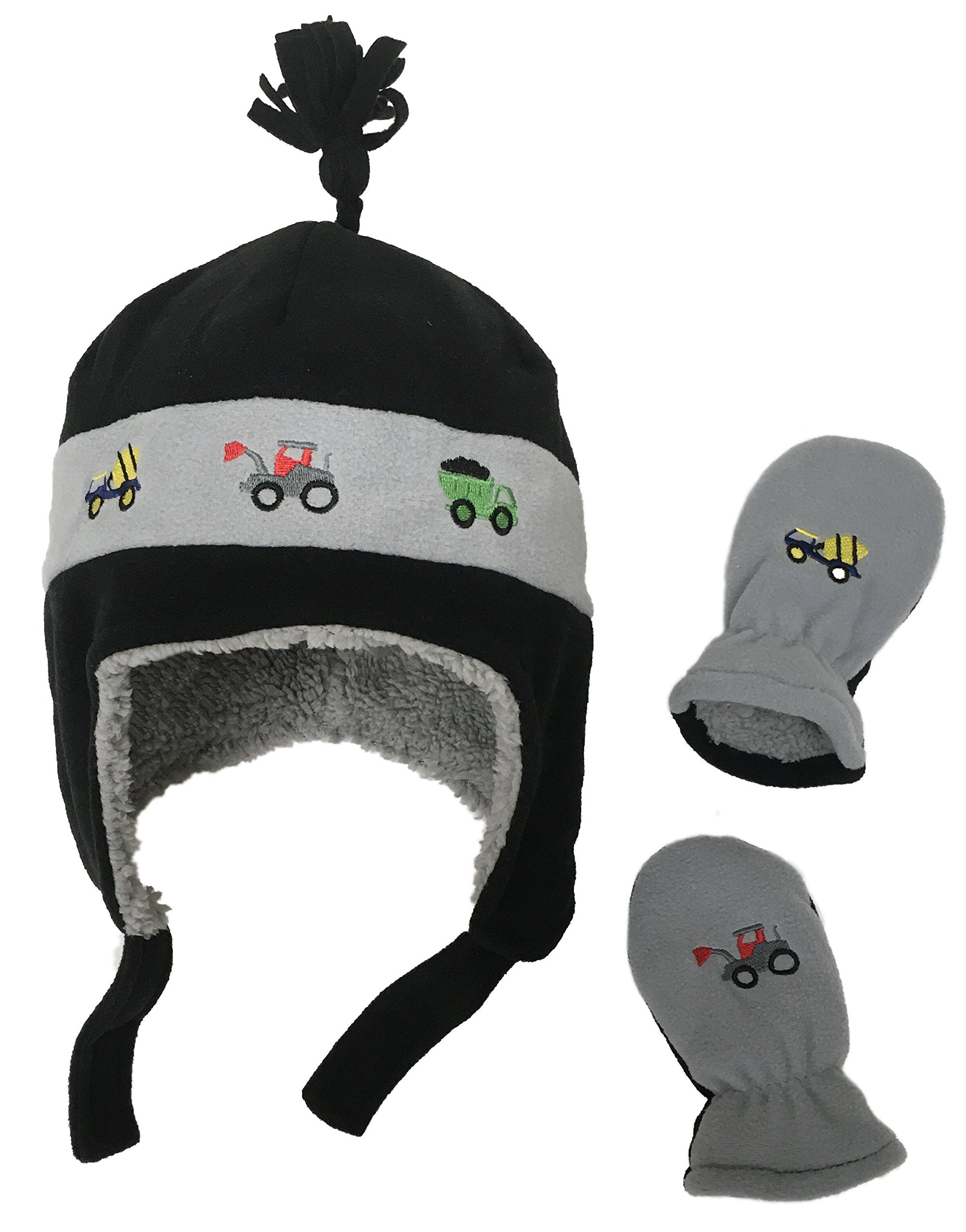 53e5221bf73 N Ice Caps Little Boys and Baby Sherpa Lined Micro Fleece Pilot Hat Mitten  Set