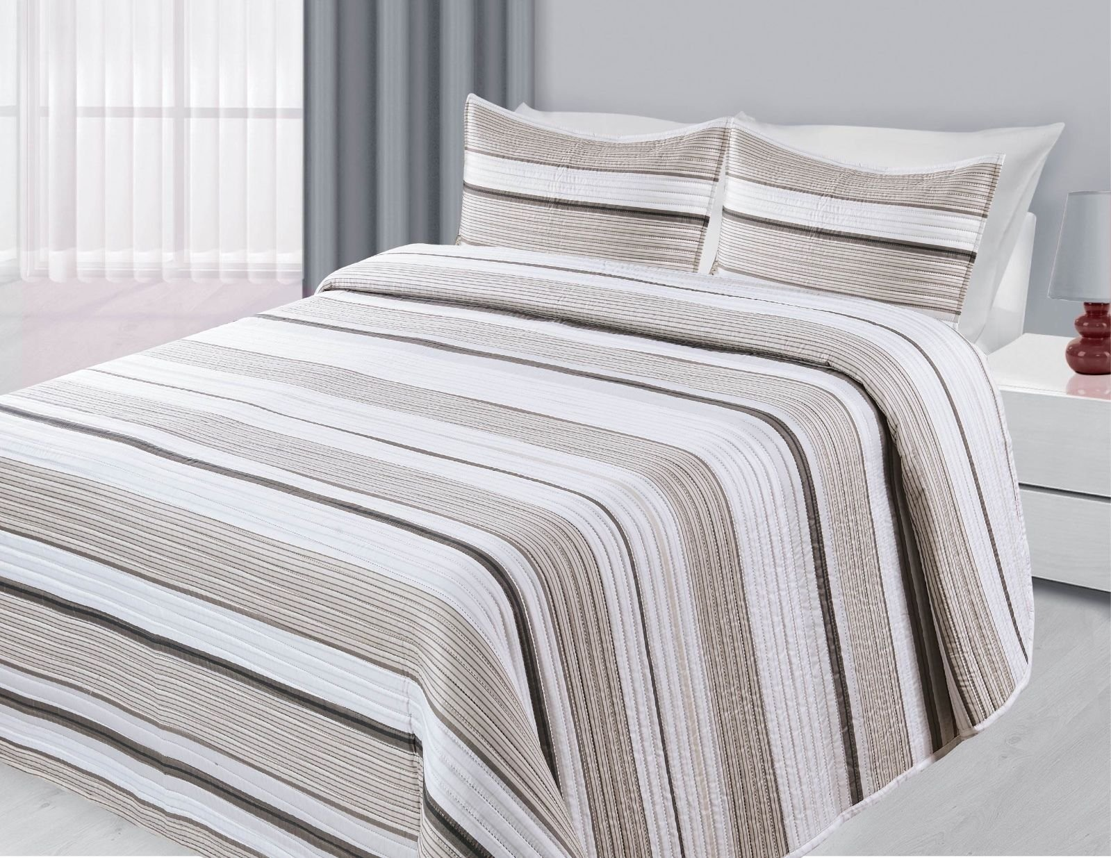 Reversible 3-Piece Quilted Printed Bedding Bedspread Coverlet New (Brown Stripe, Twin)