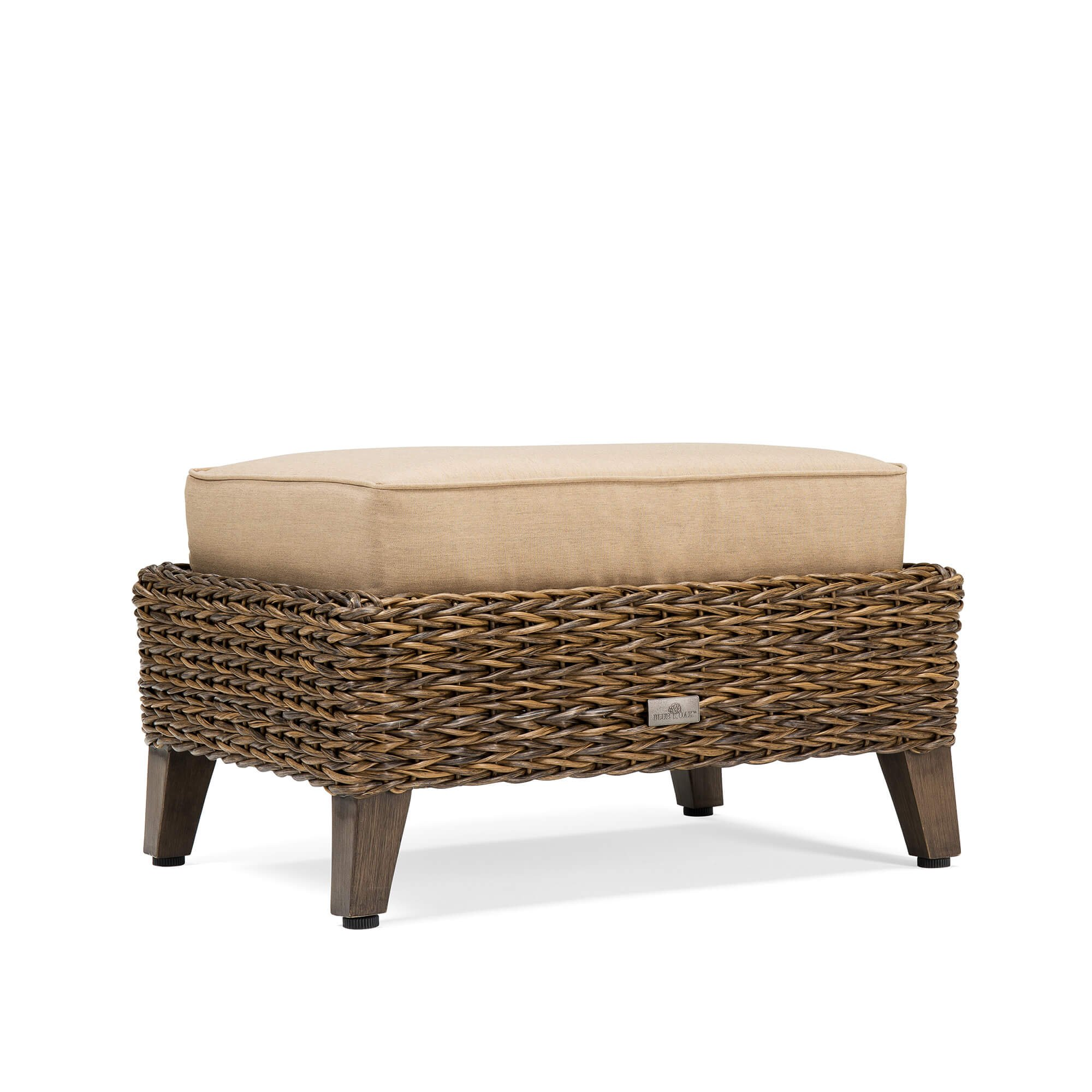 Blue Oak Outdoor Bahamas Patio Furniture Ottoman with Sunbrella Canvas Heather Beige Cushions
