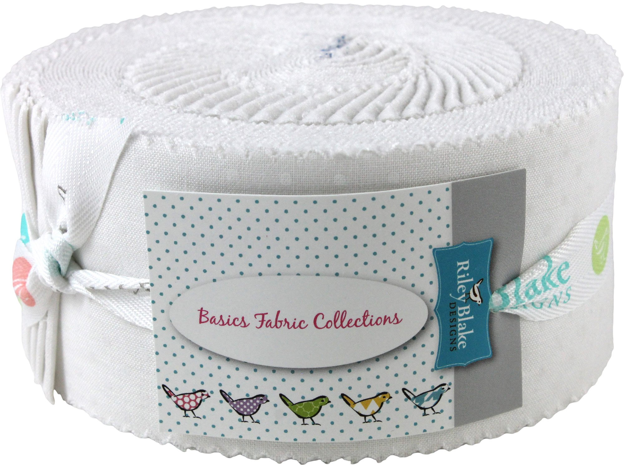 Swiss Dots White on White Rolie Polie 40 2.5-inch Strips Jelly Roll Riley Blake RP-790-150-40 by Riley Blake Designs