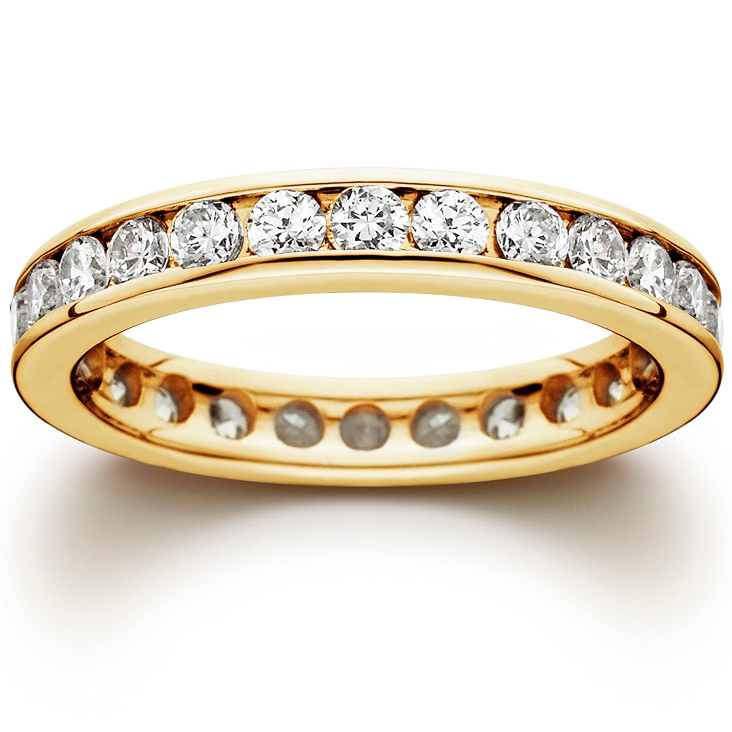 set diamond rings eternity channel collection half ring gold white image