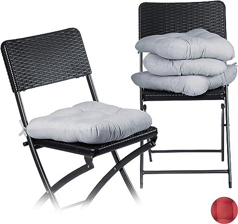 Relaxdays Set de 4 Cojines para Sillas, Exterior, Interior, Lavable, Comedor, Jardín, Mullido, Poliéster, 36x36 cm, Gris: Amazon.es: Hogar