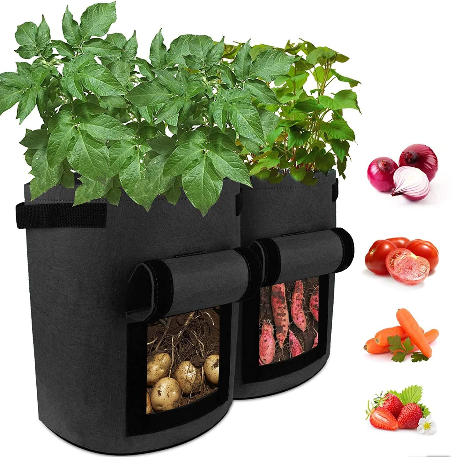 Garden Plant Grow Bag Large 10 Gallon Fabric Potato Growing Bags with Visualized Window, Large Vegetables Planters Pots Container for Garden Nursery Plants (10 Gallon) (Black)