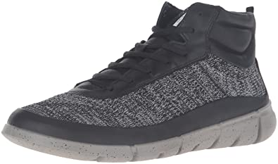 ECCO Men's Intrinsic 1 High-M Fashion Sneaker, Black/Concrete, 45 EU