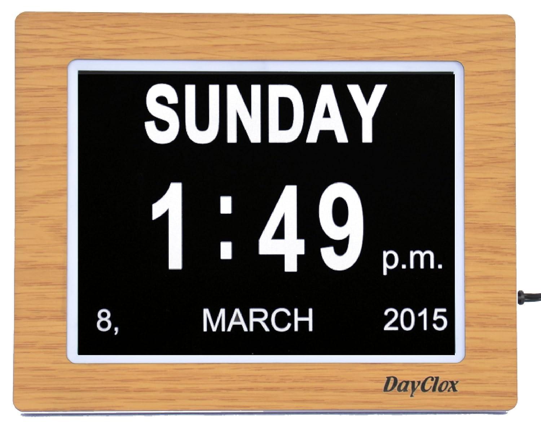 Dayclox i8.2 Uhr mit Kalender, Rahmen in Eichenholzoptik ...