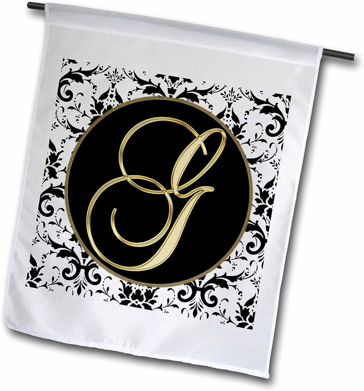 3dRose Fancy Monograms - Image of The Script Letter G in Black White and Gold - 18 x 27 inch Garden Flag (fl_256272_2)