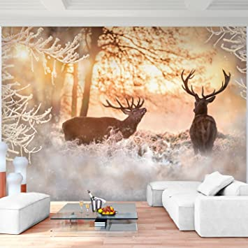 Fototapete Winter Elche 396 X 280 Cm Vlies Wand Tapete Wohnzimmer  Schlafzimmer Büro Flur Dekoration Wandbilder