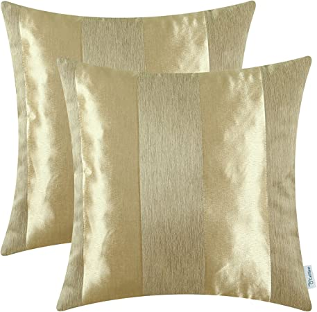 CaliTime Pack de 2 Fundas de Cojines Fundas de Fundas para Almohadas para sofá de Mesa Decoración para el hogar, Moderna a Rayas, 50cm x 50cm, Dorado: Amazon.es: Hogar