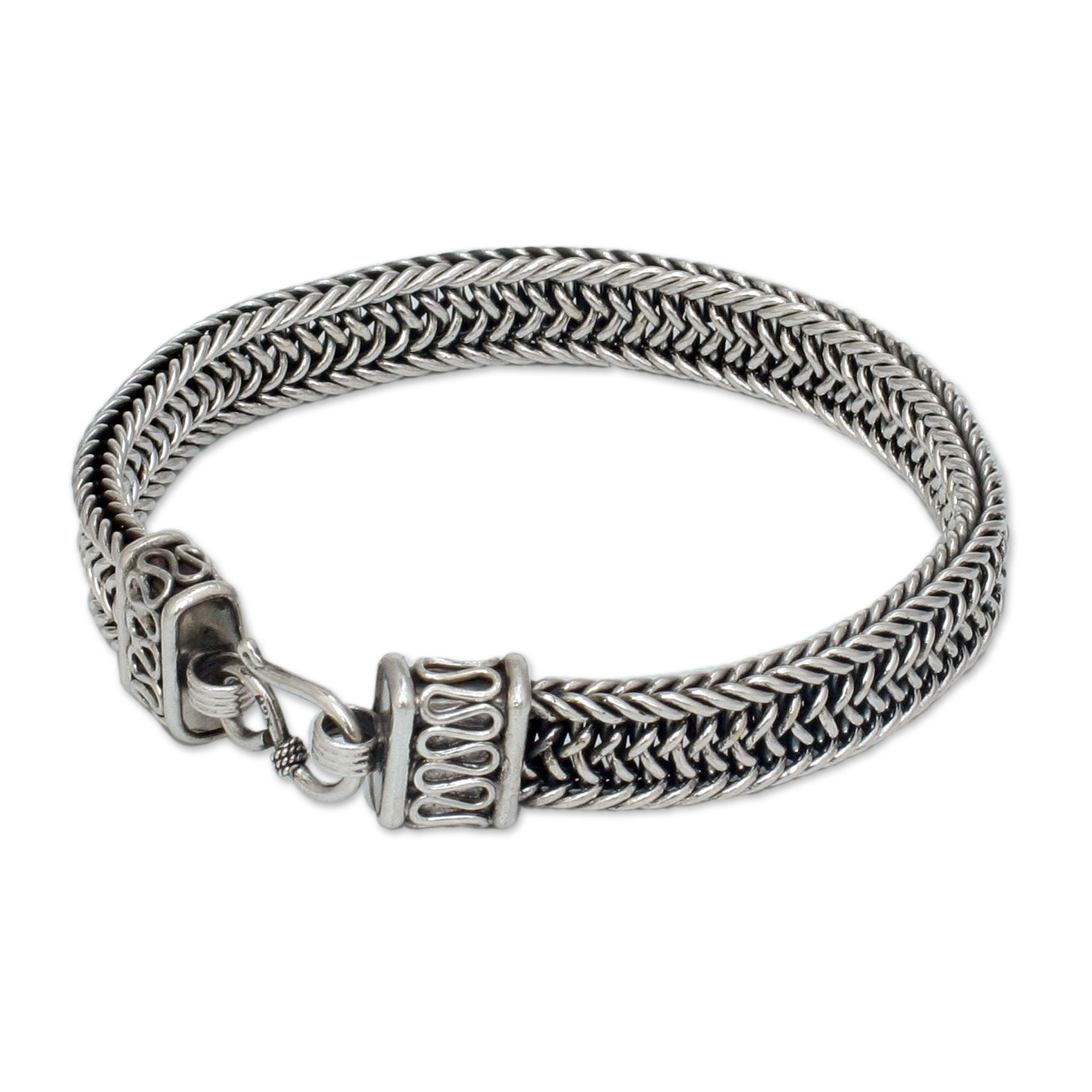 NOVICA .925 Sterling Silver Men's Woven Chain Bracelet, 8.5'', 'Kingdom'