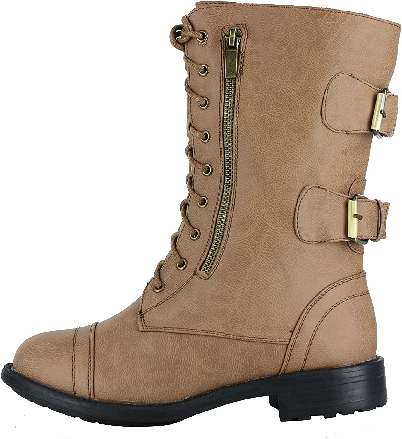 7, Taupe Top Moda Pack-72 Military Lace up Mid Calf Combat Boot