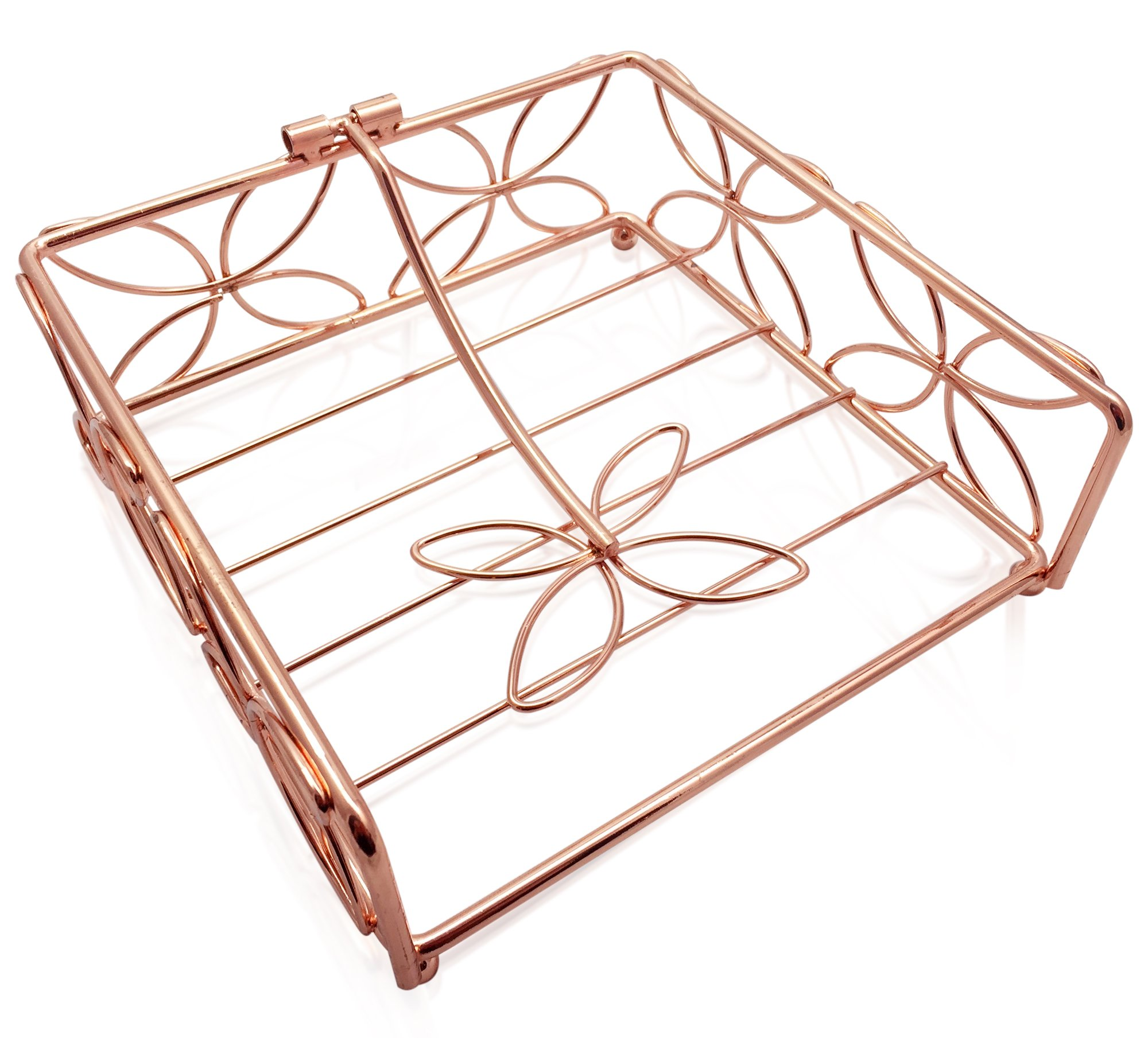 Copper plated square lay-flat napkin holder by Copper Magic