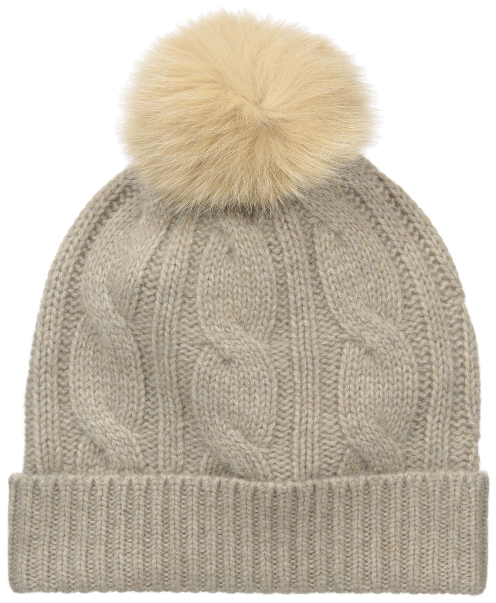 Sofia Cashmere Women's 100% Cashmere Cable Hat with Fox Fur Pom, Dark Natural, One by Sofia Cashmere