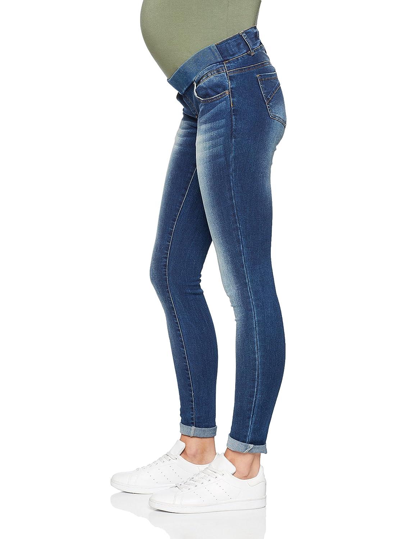 Pantalones premam/á Mujer MAMALICIOUS Mlsoul Dark Blue Slim Rib Jeans A