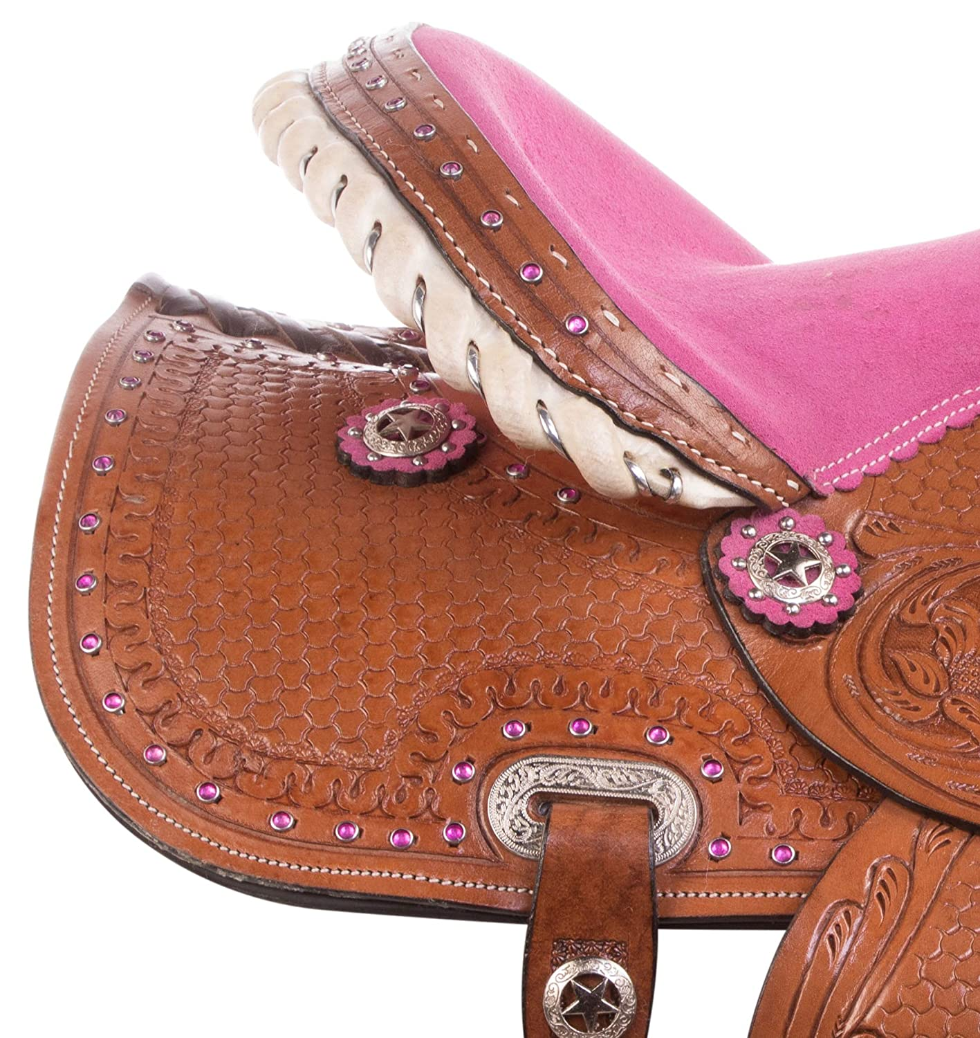 Acerugs Pink Youth Kids Hand Tooled Western Rodeo Show Barrel Racer Pleasure Trail Children Pony Horse Saddle TACK Headstall REINS Breast Collar