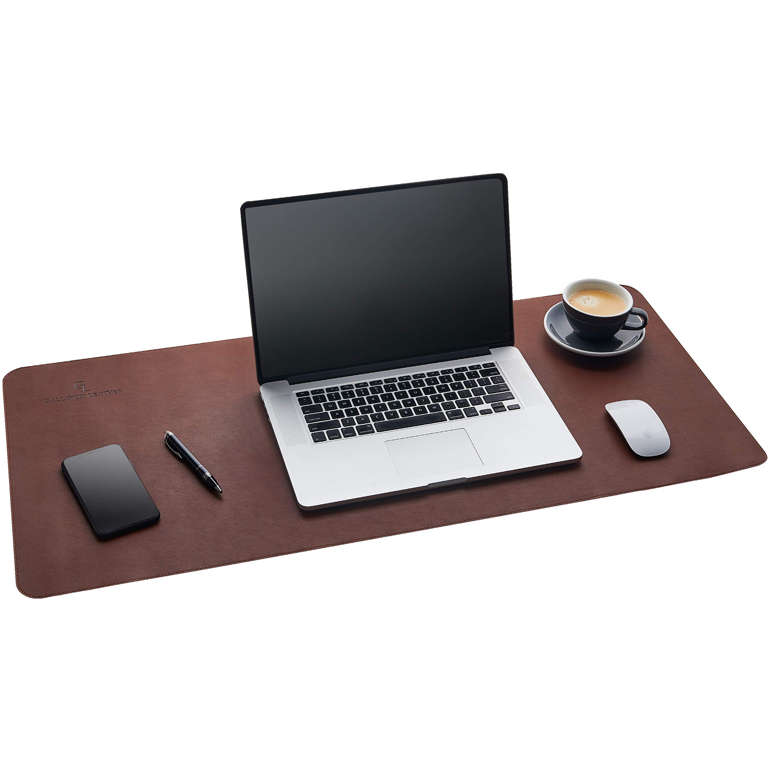 Gallaway Leather Desk Pad - Dark Brown (36 x 17) Extended Non Slip Desk Protector Premium PU Leather by Gallaway Leather