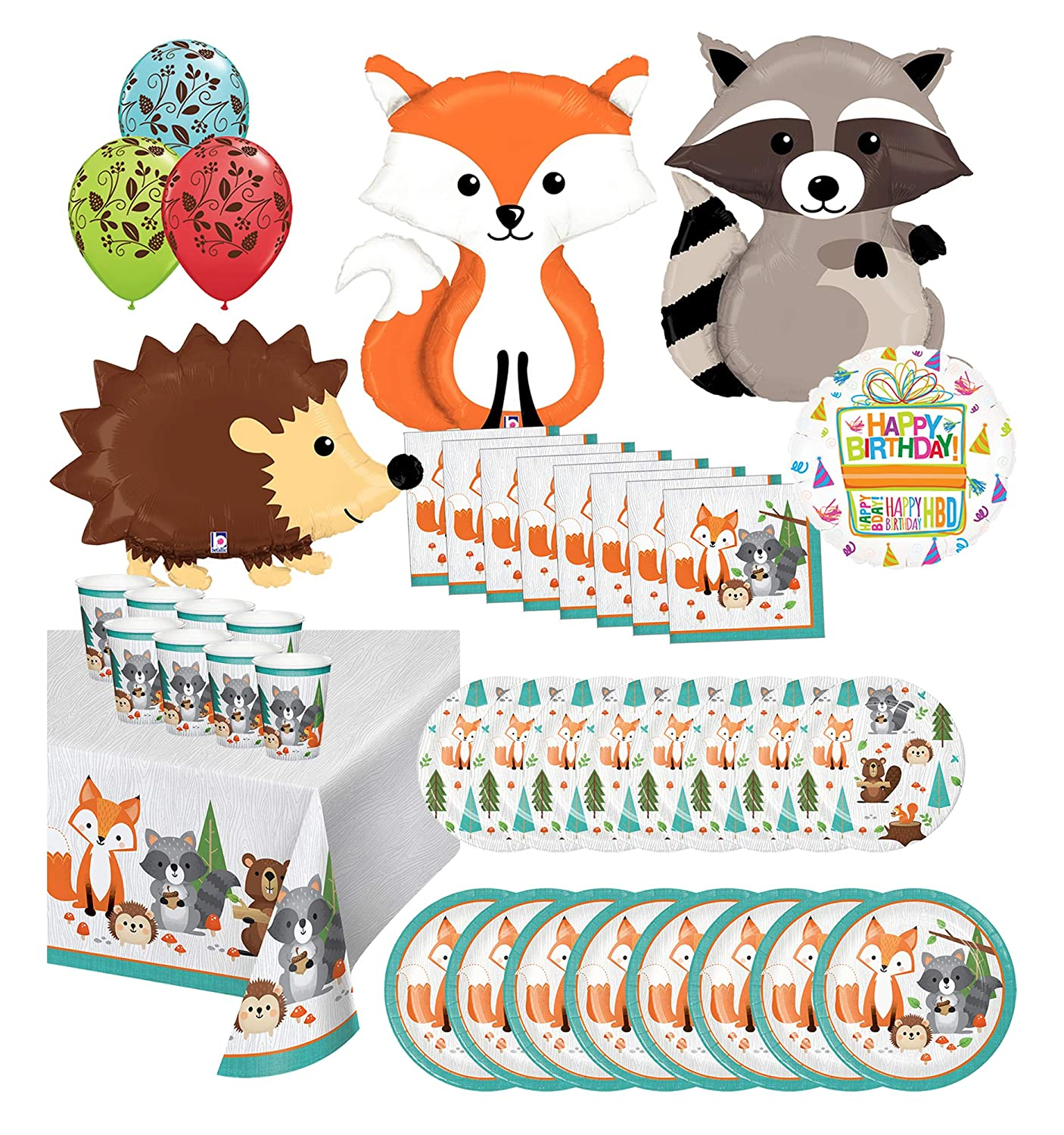 Mayflower Products Woodland Creatures Birthday Party Supplies 8 Guest Dining Decoration Kit and 3 Critters Balloon Bouquet (Fox, Hedgehog, Raccoon)
