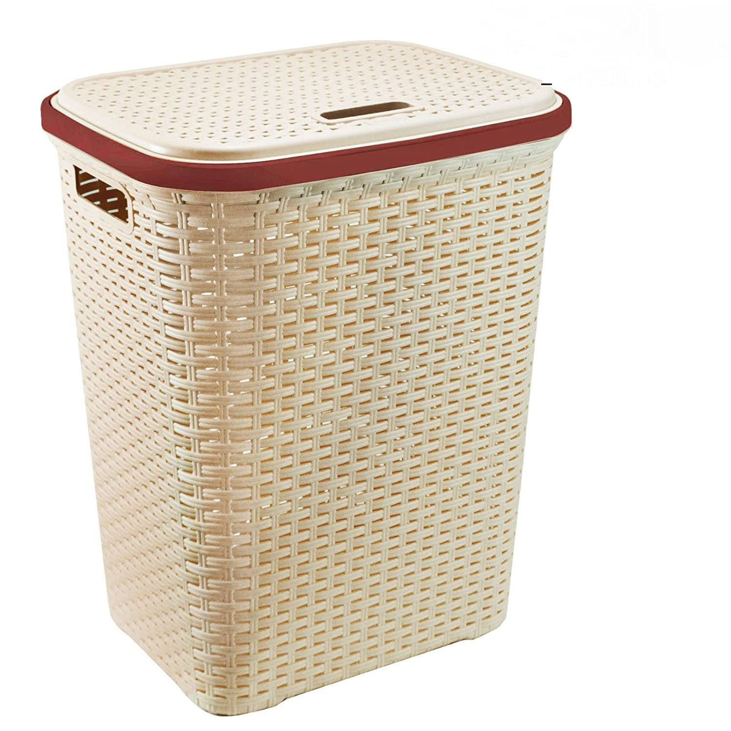 Chocolate Home In Style 56L Plastic Rattan Laundry Basket Clothes Hamper Linen Storage Lidded Bin Box Laundry Supplies Holder Tidy