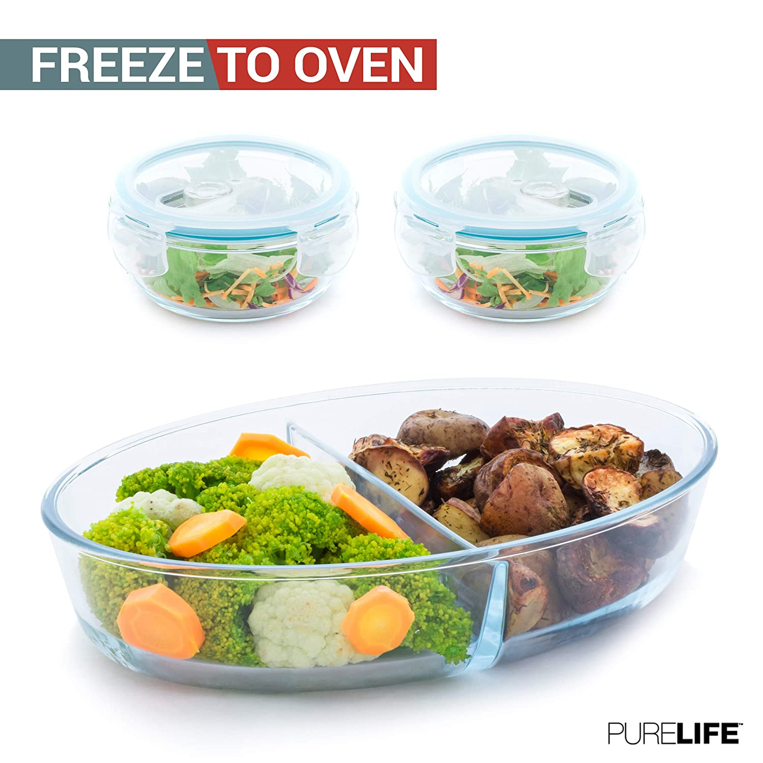 Casserole Dish by PureLife - Bakeware Set Of 3 | Borosilicate Baking Pan W/ 2 Glass Storage Containers for Meal Prep | Dishwasher, Microwave, Oven & Freezer Safe | Lunch Containers for Food W/Lids