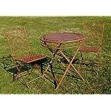 """Exklusive Sitzgruppe """"Yago"""", Gartentisch mit 2 Stühlen, Gartengarnitur, sehr stabile Metallausführung, klappbar"""