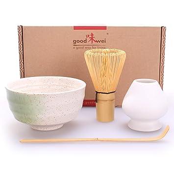 Goodwei Juego de té Matcha 4 piezas - Bol de té, batidor, cuchara y soporte. Colores disponibles: Blanco, Negro