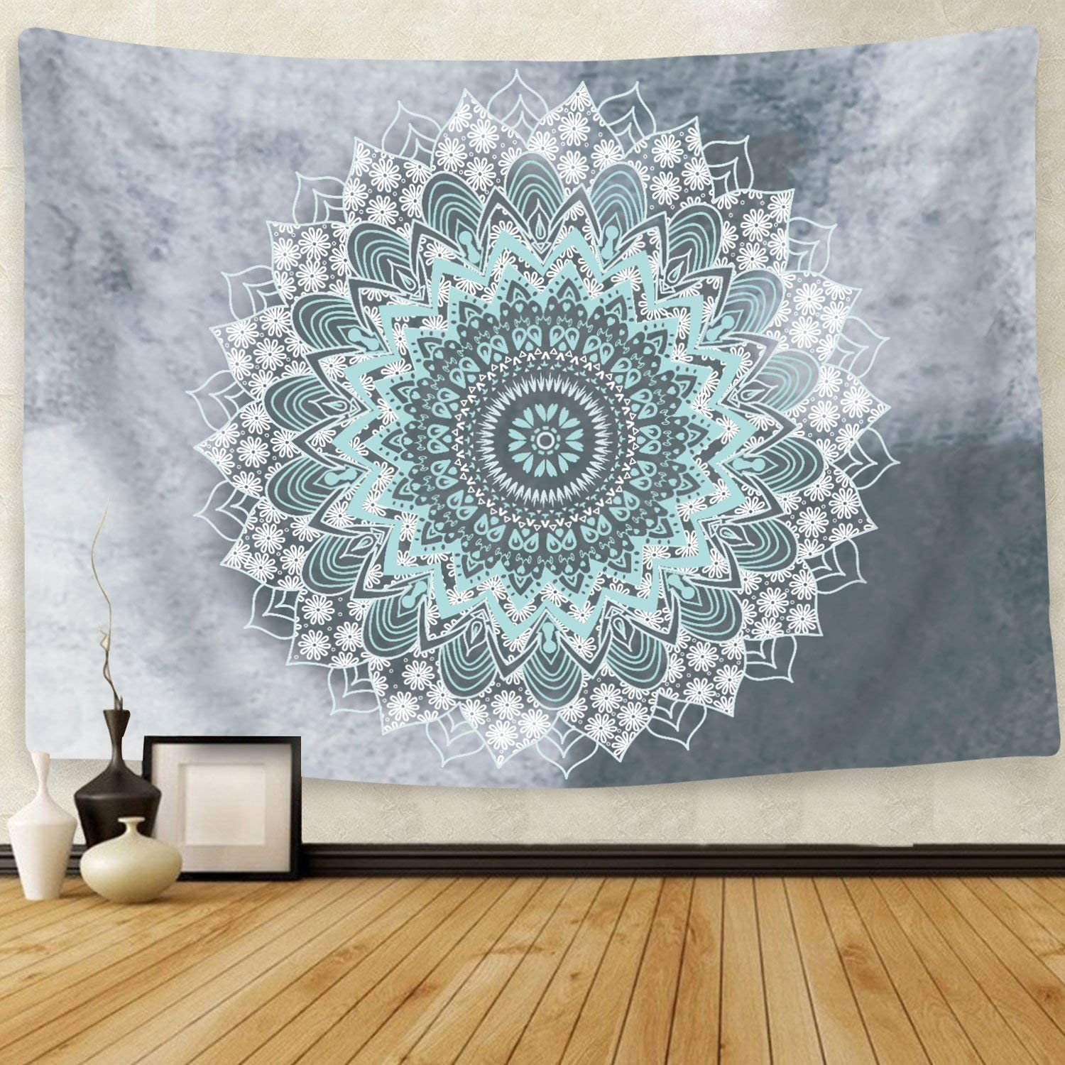 Cootime Mandala Tapestry, Hippie Bohemian Flower Psychedelic Indian Dorm Decor for Living Room Bedroom 59x59 Inches, Green