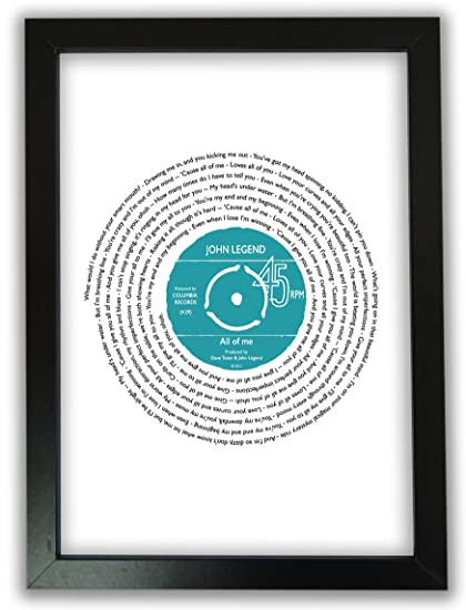 5db77b4ab00fa Personalised Vinyl Record of Song Lyrics - A4 Print Only - Any favourite  song words - Upgrade to Framed or A3  Amazon.co.uk  Kitchen   Home