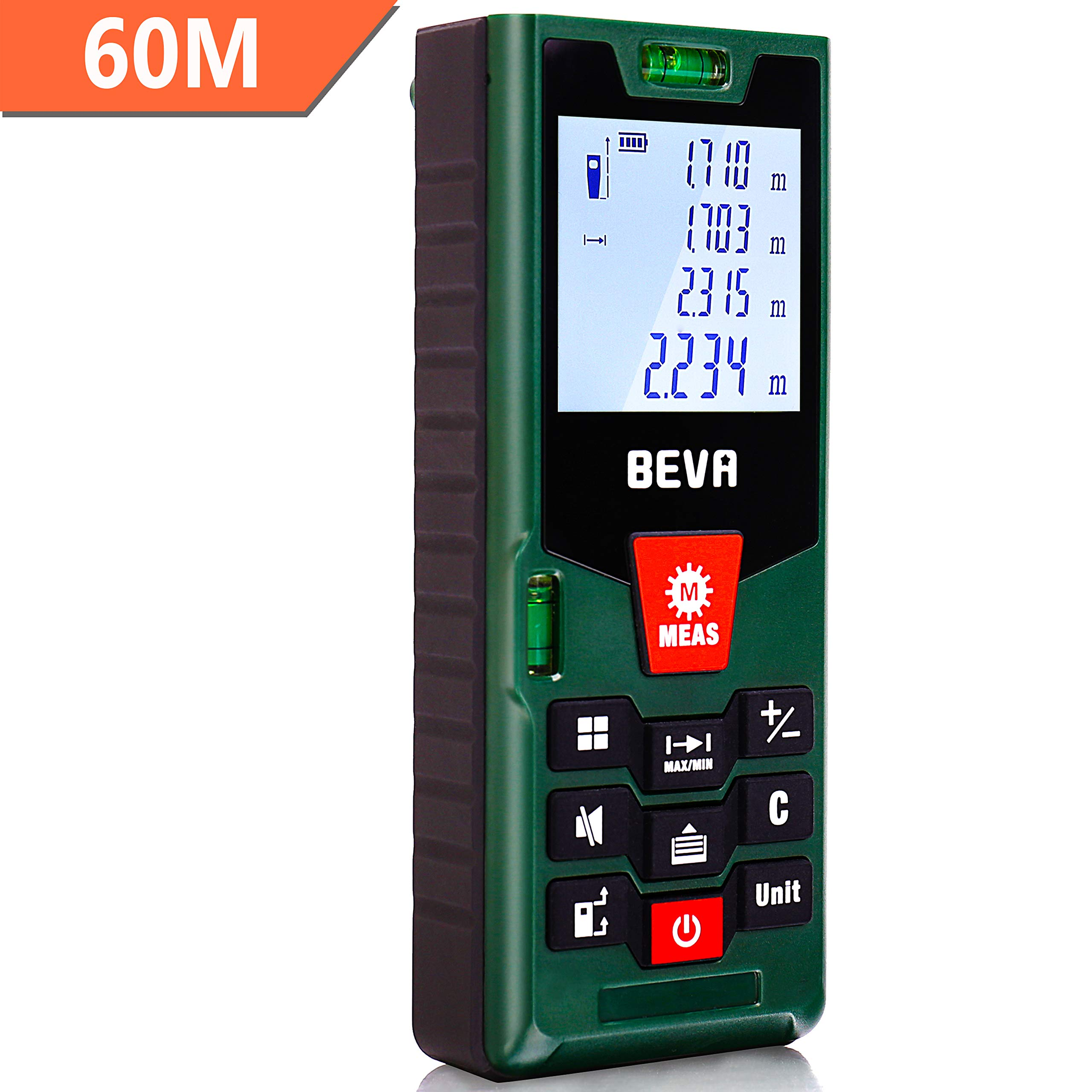 Laser Distance Measure 60m Digital Meter, BEVA Handhled Laser Tape Measure Tool with 2 Bubble Level, Backlight LCD Display, m/in/ft units, Data Recording(Battery Included) … (60M)