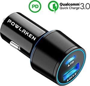 Updated 2019 Version Super Fast USB C 18W PD Car Charger, Total 36W Dual USB Car Charger Adapter for iPhone 11/11 Pro/11 Pro MAX/XS/MAX/XR/X/8/7/6/Plus, iPad Pro/Air 2/Mini, Note 5/4, LG, Nexus, HTC
