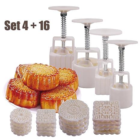 4 juegos de moldes para pasteles, 50 g/100 g, con 16 sellos