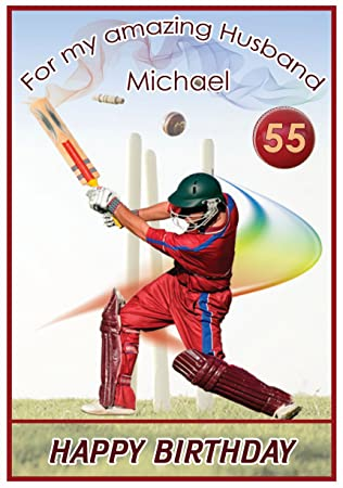 Personalised Cricket Theme Birthday Card Amazon Office Products