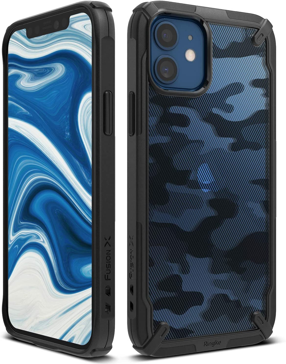 Ringke Fusion-X Compatible with iPhone 12 Mini Case Cover, Camouflage Design Back Shockproof Heavy Duty Advanced TPU Bumper Phone Case for 5.4-inch (2020) - Camo Black