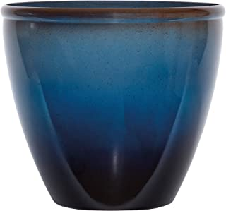 """product image for Suncast 16"""" Seneca Premium Glaze Resin Flower Planter Pot - Contemporary Weather-Resistant Flower Pot for Indoor and Outdoor Use, Home, Yard, or Garden - Dark Blue Ombre - Set of 2"""