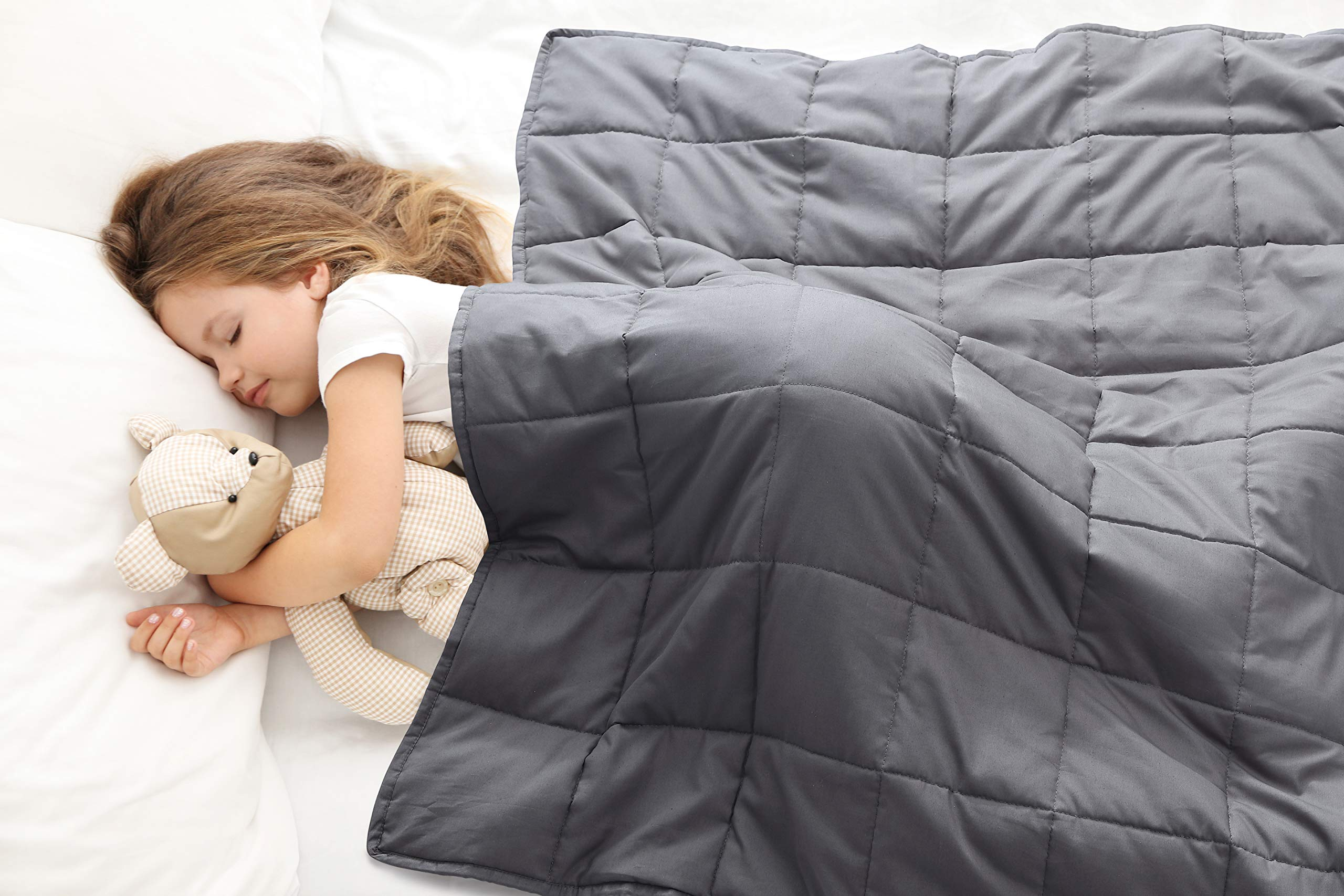 Love's cabin Weighted Blanket 5 lbs for Kids (36''x48'', Grey) 100% Organic Cotton Toddler Weighted Blanket with Glass Beads, Extra Soft Heavy Blanket (Anti-Dirty,Anti-mite,Incredible Touch)