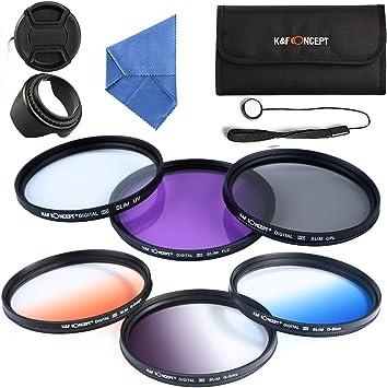 62mm UV CPL FLD + Graduado Filtro (Color Naranja Azul Gris): Amazon.es: Electrónica