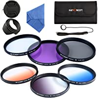 K&F Concept 55mm 6pcs Lens Accessory Filter Kit UV Protector Circular Polarizing Filter for Sony A37 A55 A57 A65 A77 A100 DSLR Cameras - Includes Filter Kit( UV+CPL+FLD,Graduated Color Blue,Orange,Gray) + Microfiber Lens Cleaning Cloth + Petal Lens Hood + Center Pinch Lens Cap/Cap Keeper + Filter Bag Pouch