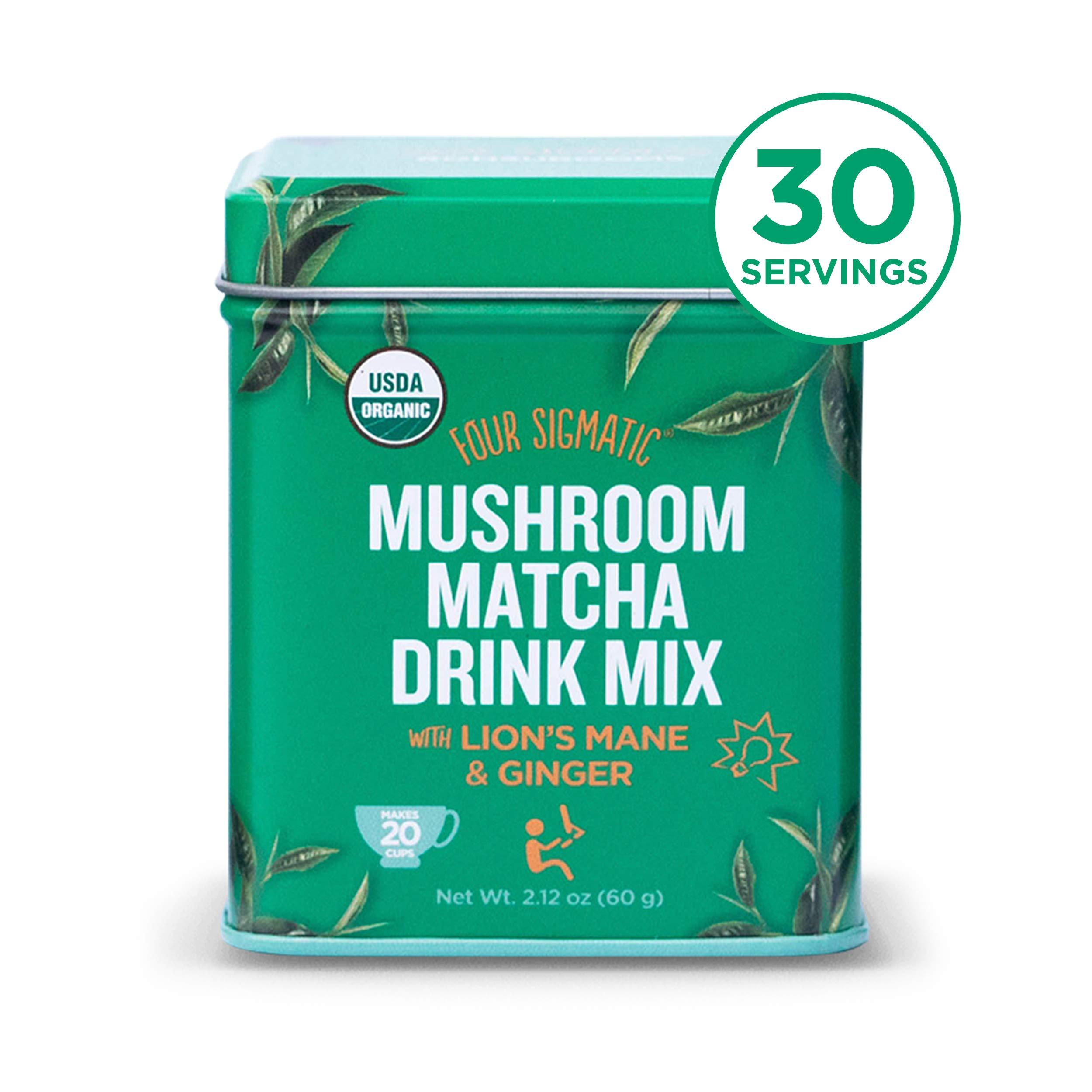 Four Sigmatic Mushroom Matcha, USDA Organic, Ceremonial Grade Matcha Grean Tea Powder with Lions Mane Mushroom Powder & Ginger, Balanced Energy & Focus, Vegan, Paleo, 60g - 20 servings, 2.12 Ounce by Four Sigmatic